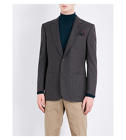 GIEVES & HAWKES Hopsack-weave slim-fit wool jacket (Brown