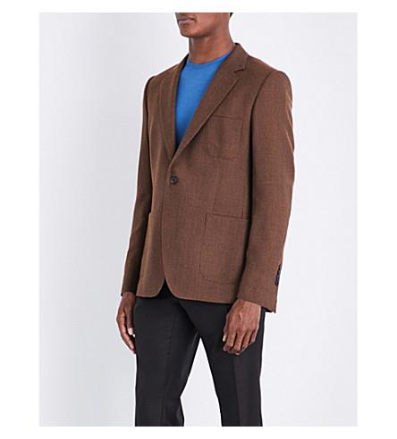 GIEVES & HAWKES Hopsack-weave regular-fit wool jacket (Burnt+yellow
