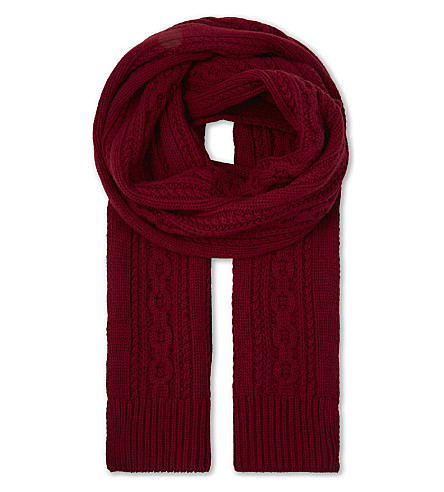 GIEVES & HAWKES Cable knit cashmere scarf (Burgundy