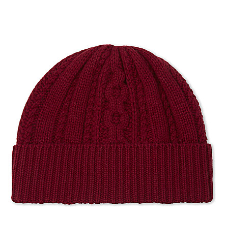 GIEVES & HAWKES Cable knit cashmere beanie (Burgundy