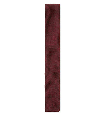 GIEVES & HAWKES Knitted cashmere tie (Burgundy