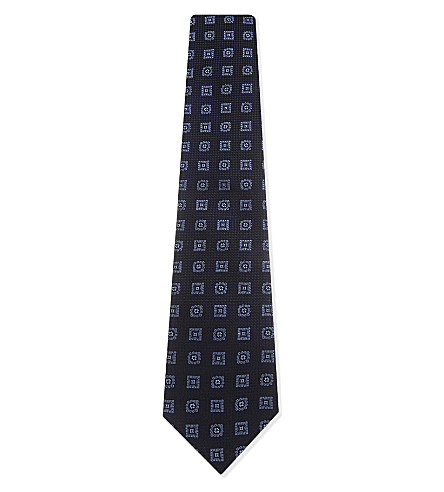 GIEVES & HAWKES Geometric flower silk tie (Blue