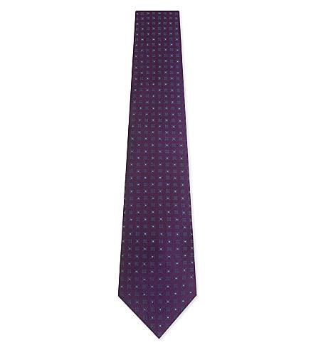 GIEVES & HAWKES Tile pattern silk tie (Purple/navy