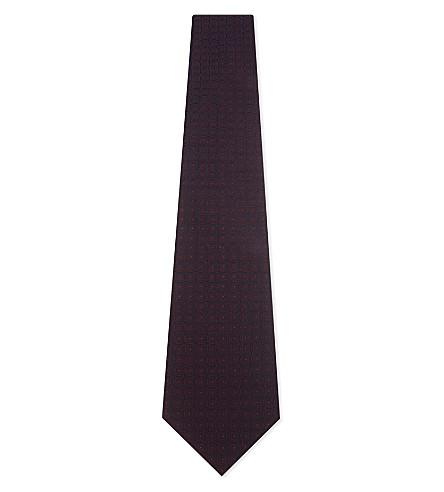 GIEVES & HAWKES Diamond pattern silk tie (Burgundy