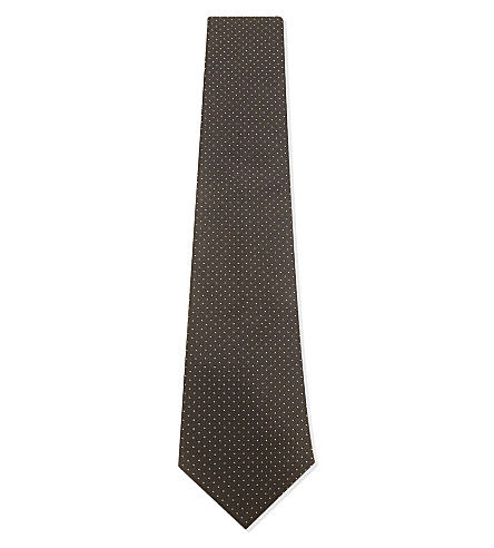 GIEVES & HAWKES Pindot silk tie (Brown