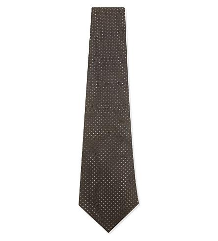 GIEVES & HAWKES Pindot silk tie (Brown
