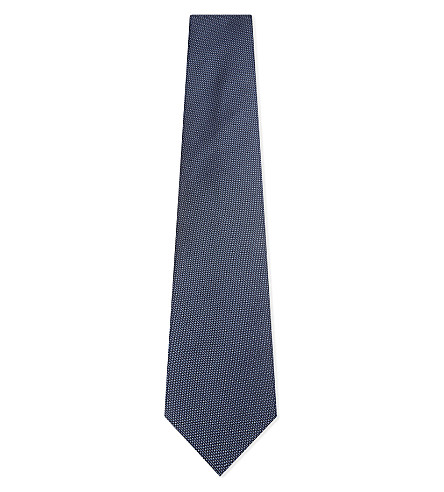 GIEVES & HAWKES Micro textured silk tie (Blue