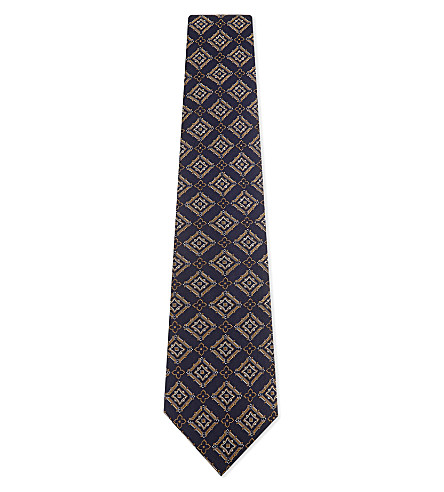 GIEVES & HAWKES Flower and square silk tie (Blue/gold