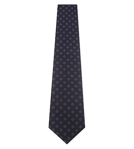 GIEVES & HAWKES Geometric tile silk tie (Navy