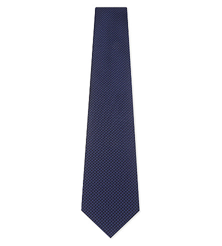 GIEVES & HAWKES Houndstooth silk tie (Blue