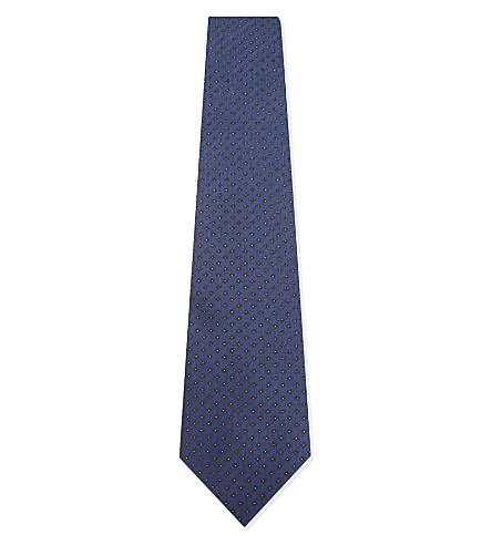 GIEVES & HAWKES Flower print silk tie (Blue