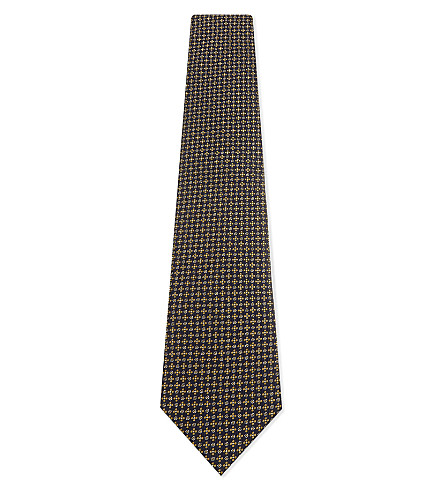 GIEVES & HAWKES Floral silk tie (Gold/navy