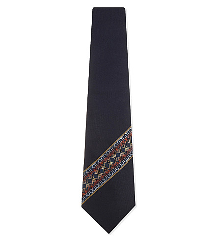 GIEVES & HAWKES Woven diagonal stripe silk tie (Navy