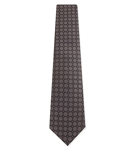 GIEVES & HAWKES Circle-dot silk tie (Brown