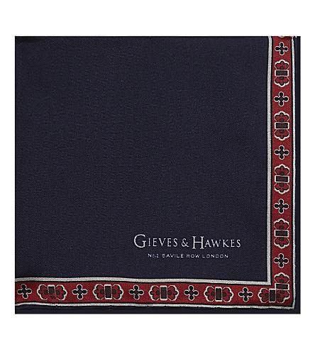 GIEVES & HAWKES Flower border silk pocket square (Navy