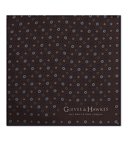 GIEVES & HAWKES Flower and tile print silk pocket square (Brown