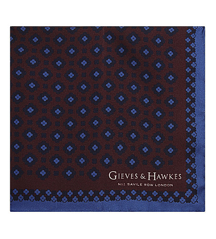 GIEVES & HAWKES Floral pattern silk pocket square (Burgundy