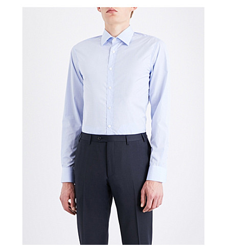 GIEVES & HAWKES Mico gingham-patterned fitted cotton shirt (Blue