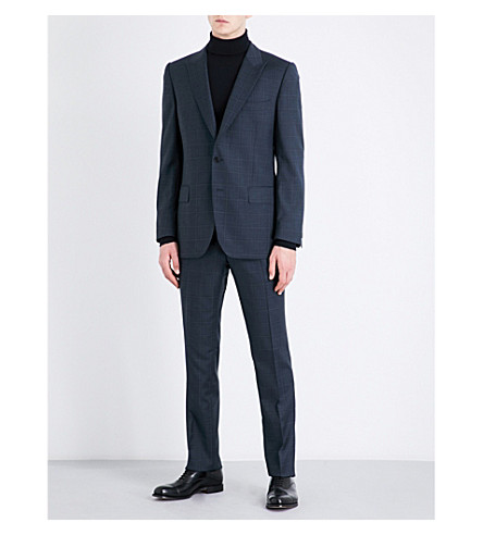 GIEVES & HAWKES Checked slim-fit wool suit (Blue