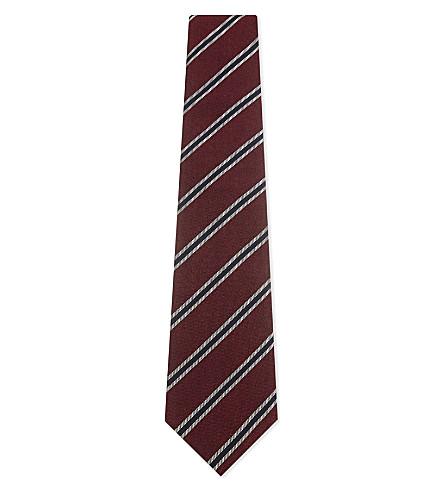 GIEVES & HAWKES Diagonal stripe silk tie (Red