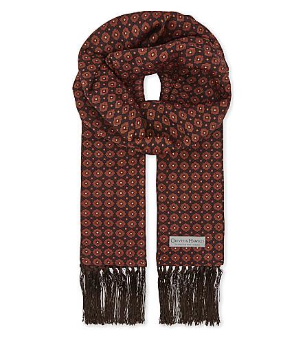GIEVES & HAWKES Medallion silk scarf (Orange