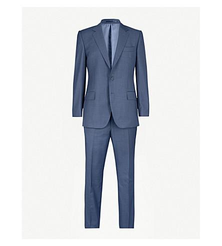 GIEVES & HAWKES Micro-textured regular-fit wool suit (Medium+blue