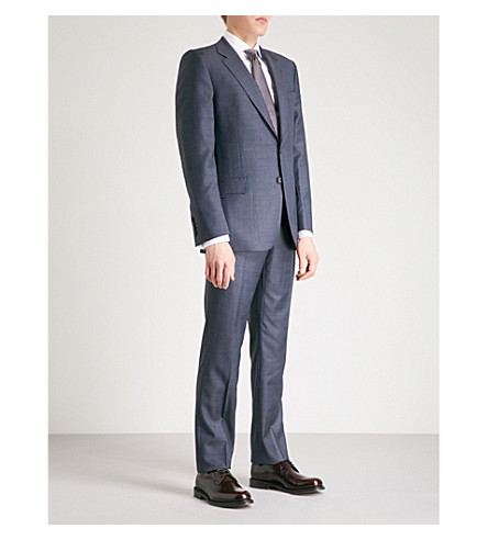 GIEVES & HAWKES Herringbone regular-fit wool suit (Concrete