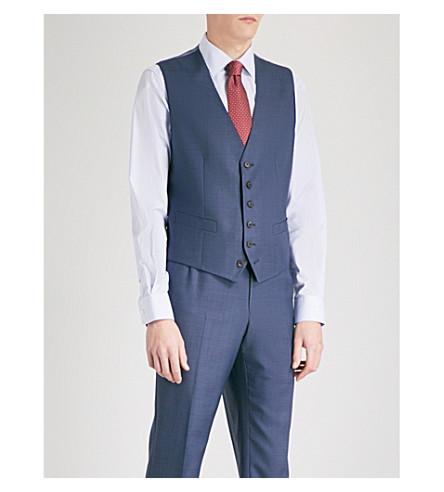 GIEVES & HAWKES Birdseye-weave wool waistcoat (Navy