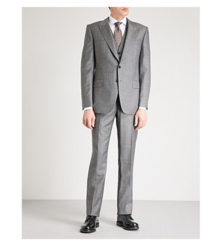 GIEVES & HAWKES Micro-textured regular-fit wool suit (Grey