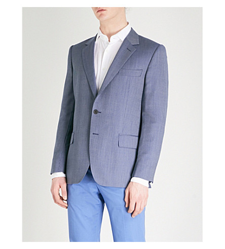 GIEVES & HAWKES Birdseye regular-fit wool jacket (Medium+blue