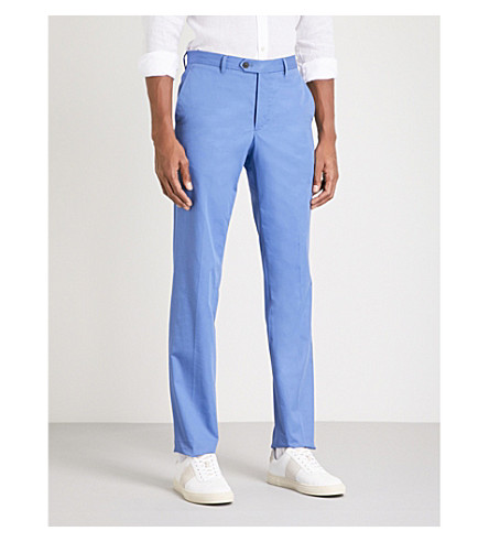 GIEVES & HAWKES Slim-fit cotton-twill chinos (Blue