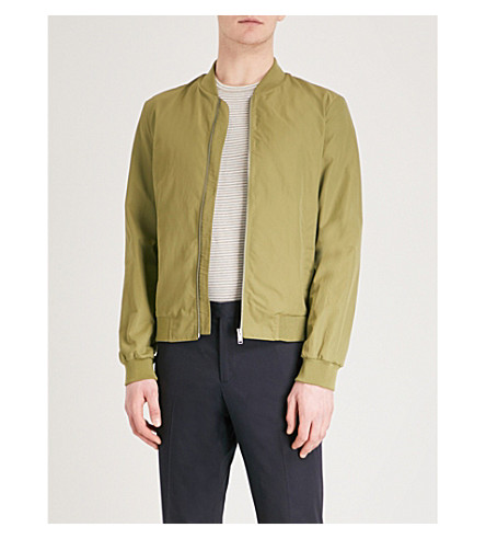 GIEVES & HAWKES Stand-collar shell bomber jacket (Green