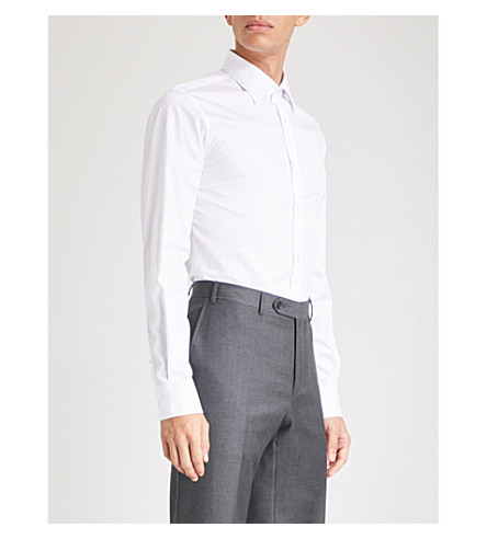 GIEVES & HAWKES Textured tailored-fit cotton shirt (White