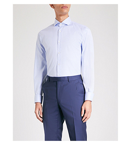 GIEVES & HAWKES Gingham tailored-fit cotton shirt (Blue
