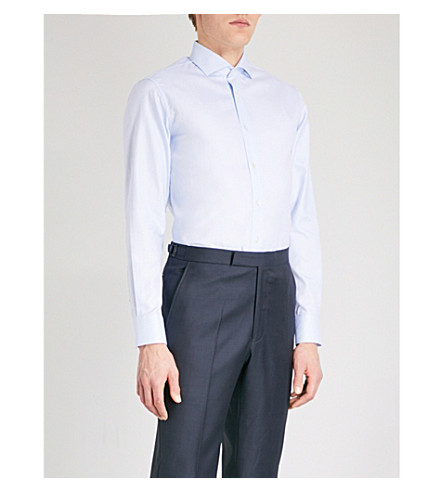 GIEVES & HAWKES Herringbone tailored-fit cotton shirt (Light+blue
