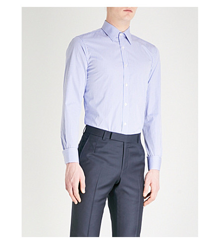 GIEVES & HAWKES Checked tailored-fit cotton shirt (Blue