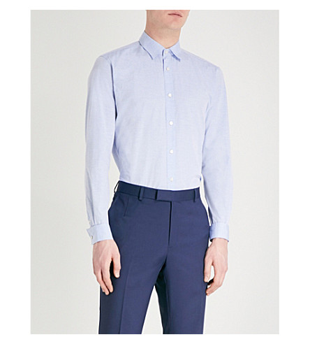 GIEVES & HAWKES Tailored-fit patterned cotton shirt (Sky