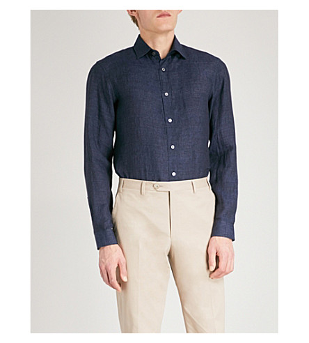GIEVES & HAWKES Regular-fit linen shirt (Navy