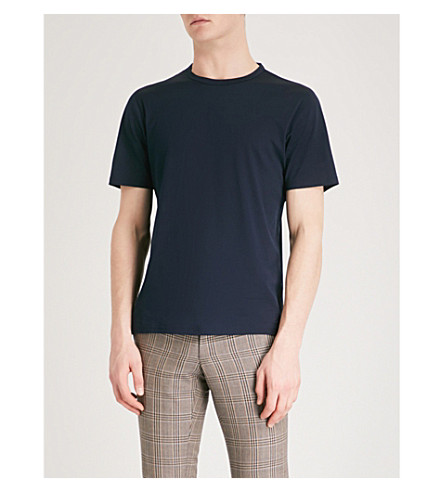 GIEVES & HAWKES Crewneck cotton-jersey T-shirt (Navy
