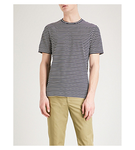GIEVES & HAWKES Striped cotton-jersey T-shirt (Navy