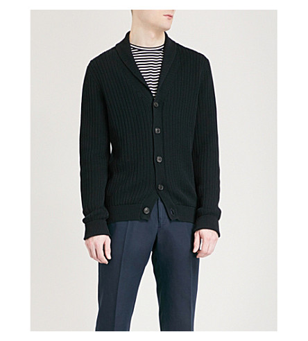 GIEVES & HAWKES Ribbed knitted cotton cardigan (Dark+navy