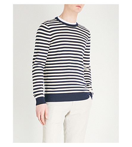 GIEVES & HAWKES Striped cotton jumper (Navy
