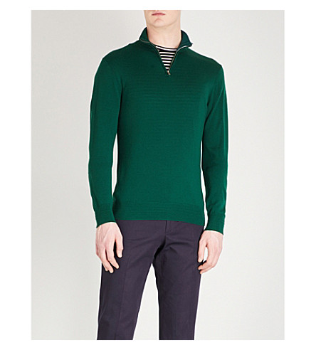 GIEVES & HAWKES Quarter zip wool jumper (Dark+green