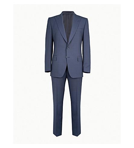 GIEVES & HAWKES Herringbone-check regular-fit wool suit (Dark+navy
