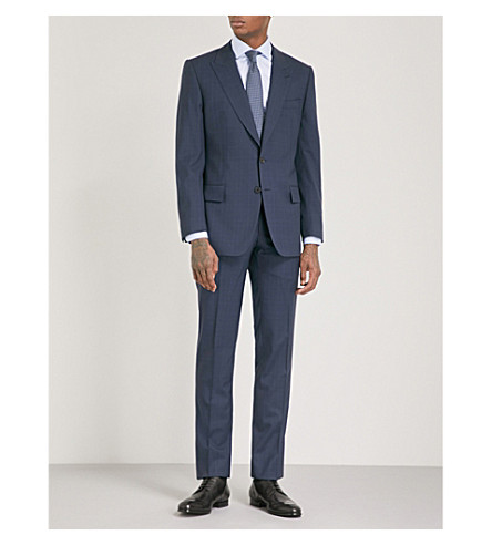 GIEVES & HAWKES Herringbone-check regular-fit wool suit (Dark+navy