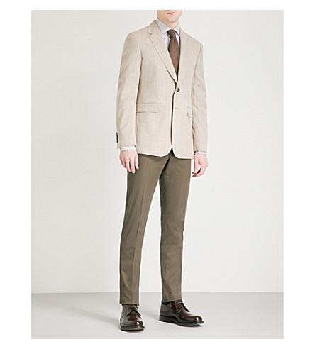 GIEVES & HAWKES Regular-fit wool and silk-blend jacket (Sand