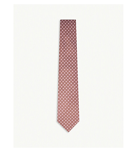 GIEVES & HAWKES Diamond pattern silk tie (Dusty+pink