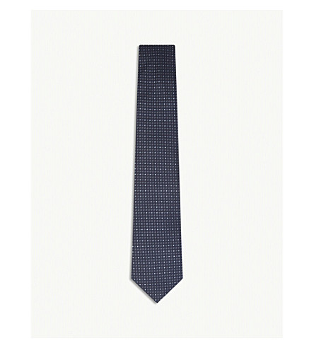 GIEVES & HAWKES Micro-diamond silk tie (Navy