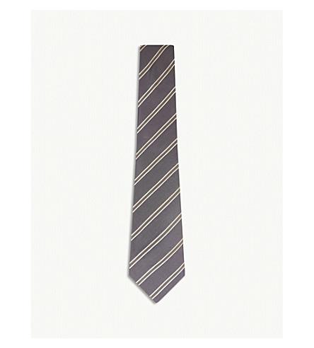 GIEVES & HAWKES Diagonal stripe silk tie (Concrete