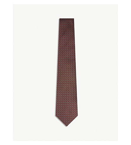 GIEVES & HAWKES Inlaying square-grid silk tie (Burgundy